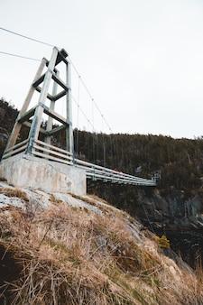 川に架かる白い木製の橋