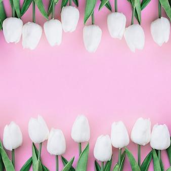 Симпатичная симметричная композиция с белыми тюльпанами на пастельно-розовом фоне