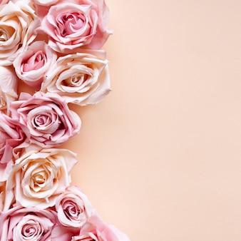 ピンクの背景にピンクのバラの花