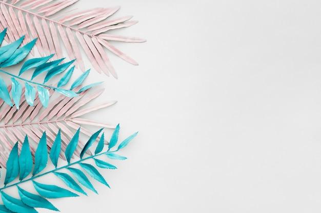 白い背景の未来的な熱帯のヤシの葉