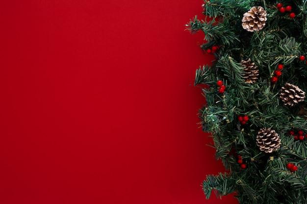 赤い背景の上のクリスマスツリーの枝