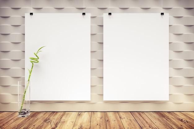 壁に空白のポスターを持つモダンなインテリア