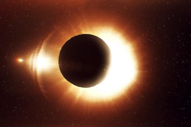 Красивое солнечное затмение, реалистичная иллюстрация