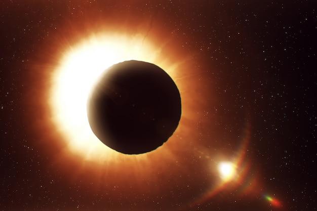 Солнечное затмение в космосе, фотореалистичная иллюстрация