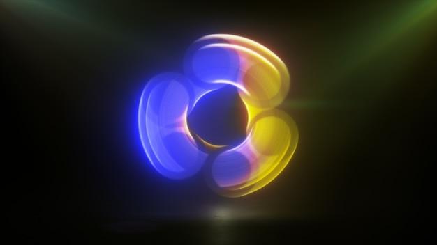 Светящийся вращающийся синий желтый блесна