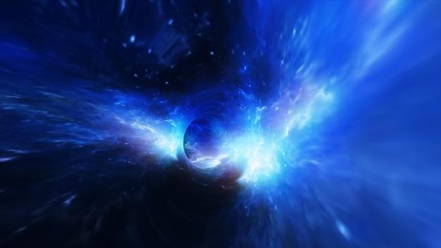 宇宙のブラックホールで抽象的な飛行