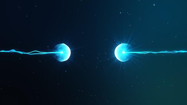 Две частицы готовы столкнуться друг с другом художественный образ