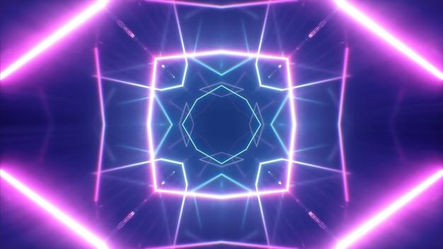 Светящиеся неоновые линии, создающие туннель