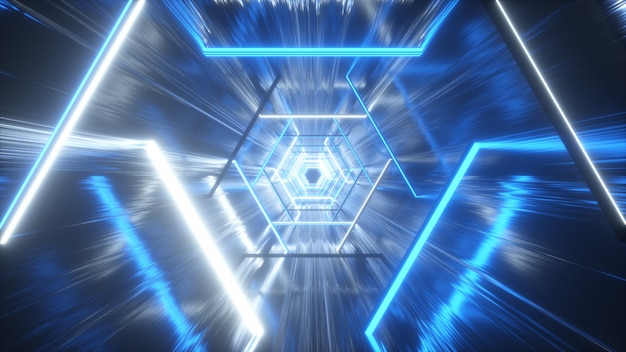Светящийся неоновый шестиугольник, создающий туннель
