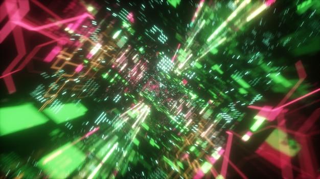 Хаотический технологический футуристический космический тоннель