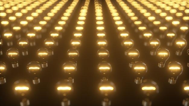 点滅する白熱電球の無限の表面