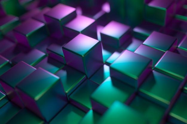 金属の光沢のあるキューブの抽象的な背景