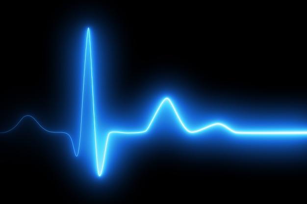 Неоновое сердцебиение на черном фоне