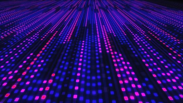 Абстрактный фон светящихся неоновых квадратов
