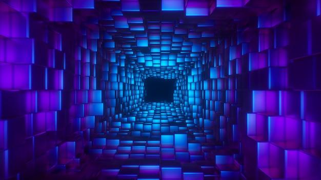 抽象的な未来の廊下を飛んで