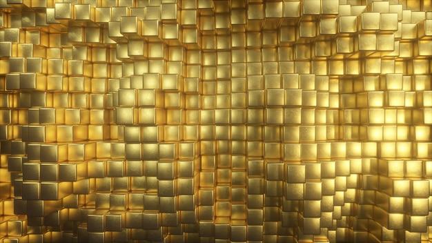 美しい抽象的なゴールデンキューブ