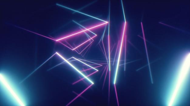 三角形の背景を持つ未来的な廊下を飛んでいる抽象的な