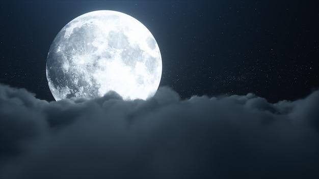 Красивые реалистичные облака с полной луной