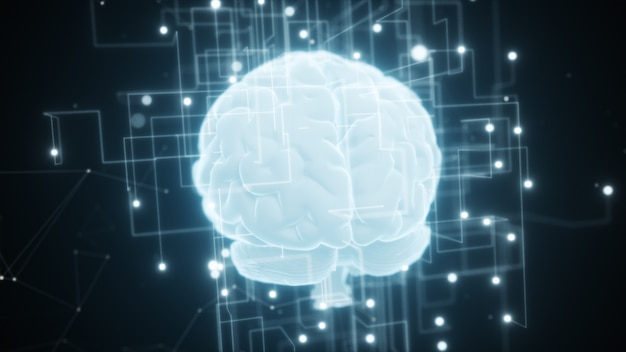 人工知能のデジタル脳の周りに広がるネットワーク