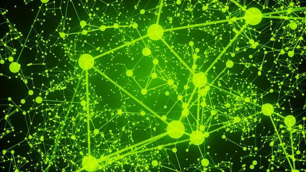 明るい緑の背景に接続されているドットを抽象化します。技術コンセプト