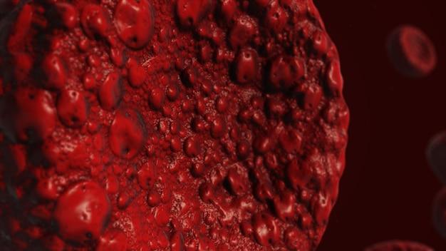 Реалистичная визуализация бактерий в красных тонах