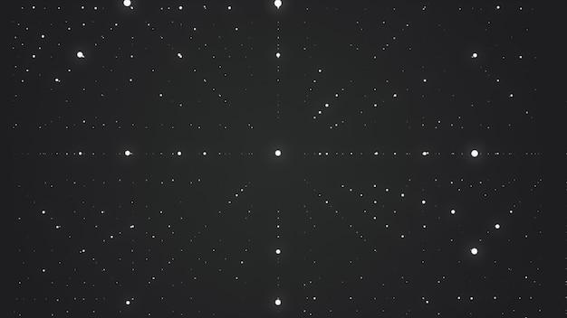 抽象的な背景。奥行きの錯覚と輝く星のマトリックス。抽象的な未来的な空間の背景