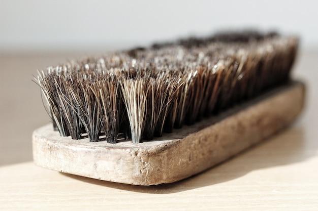 靴磨きブラシ毛がショットを閉じる