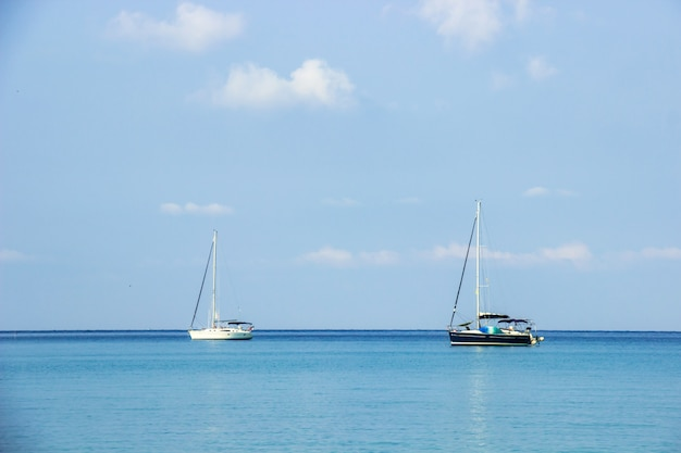 バックグラウンドで観光客の白と黒のヨット
