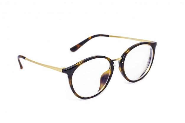白い背景で隔離のビンテージメガネ