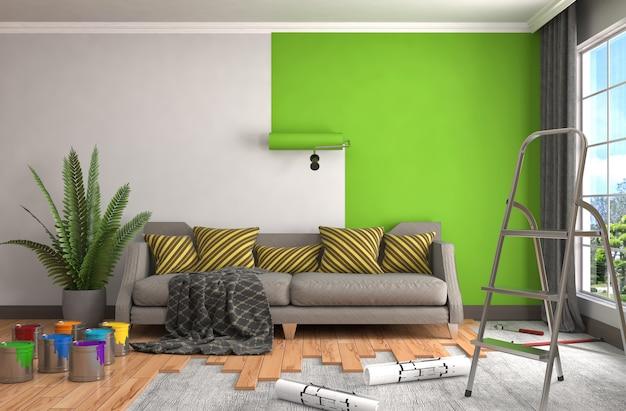 部屋の壁の修理と塗装