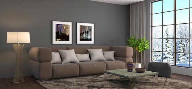 Интерьер с диваном, оказанные иллюстрации