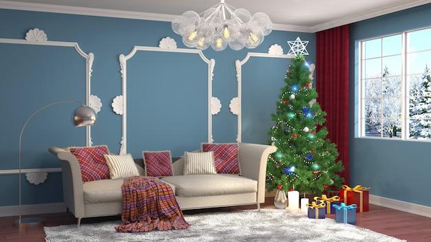 リビングルームのレンダリングイラストで装飾が施されたクリスマスツリー