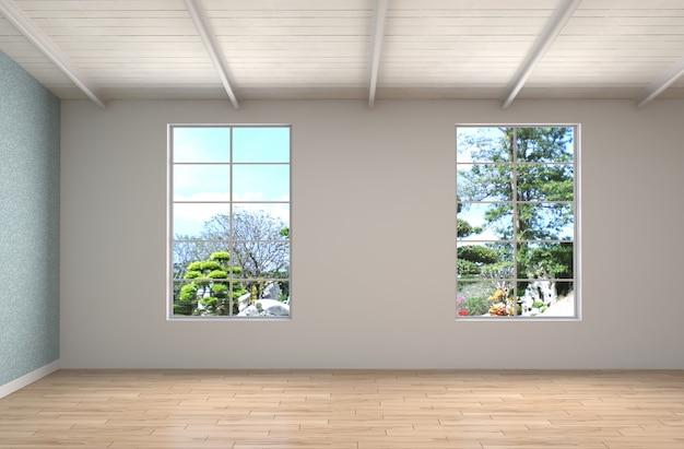 大きな窓のあるインテリアイラスト