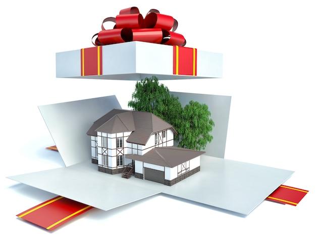 Модель дома в подарочной коробке с красной лентой