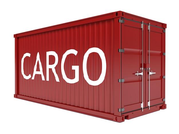 分離されたテキストラベルが付いた赤い貨物コンテナー