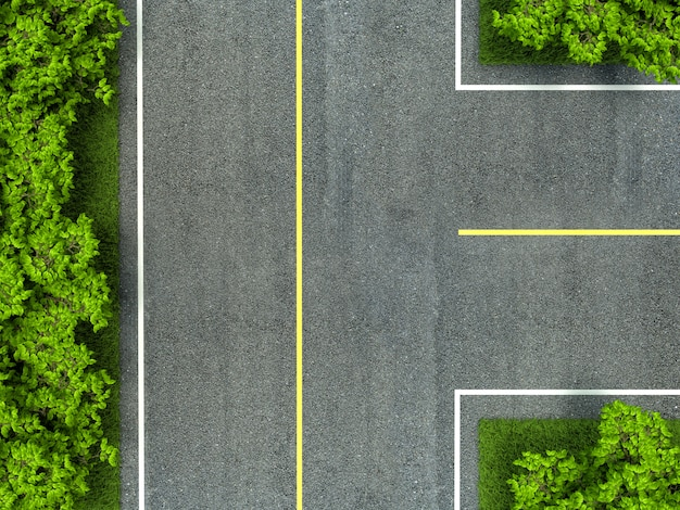 Текстура асфальтированной дороги, желтая и белая линия на дороге