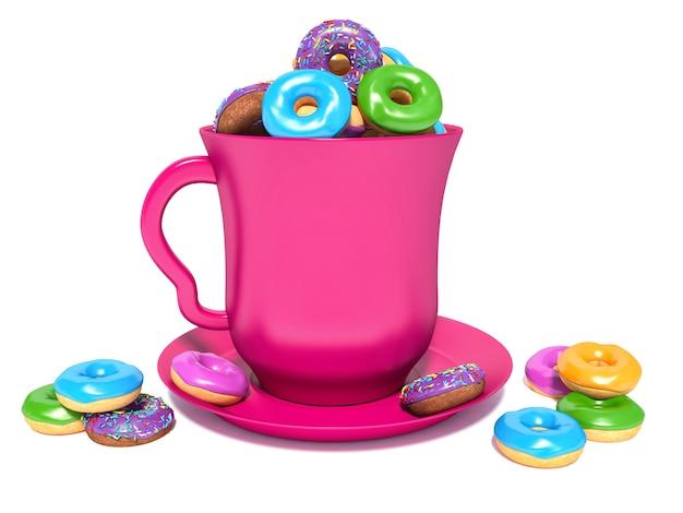 ピンクの円とドーナツ