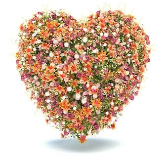 Цветочное сердце на белом