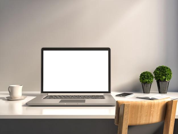 Офисный стол. ноутбук и кофе