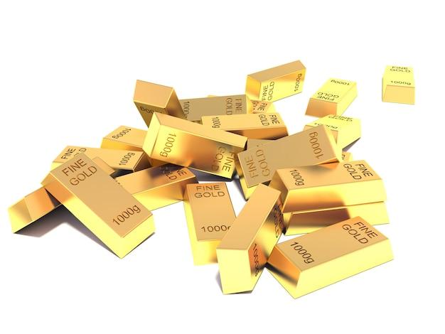 Куча плоских золотых слитков на белом фоне