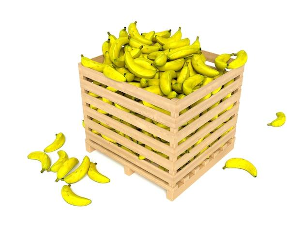 Свежие бананы в деревянной коробке