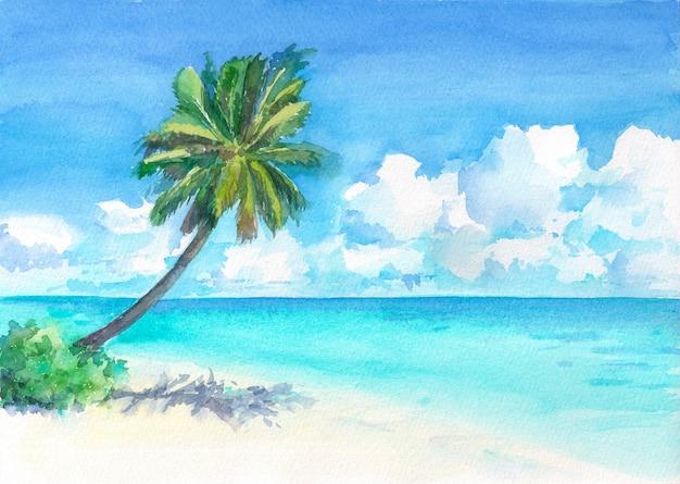 ヤシの木と素晴らしい熱帯のビーチ。水彩の手描きイラスト。