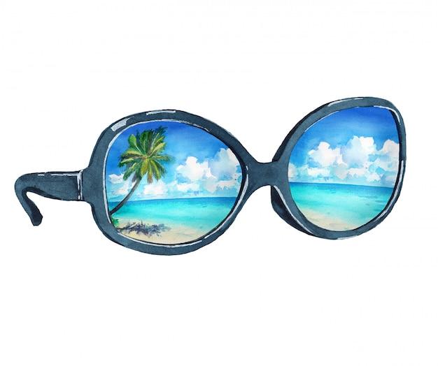熱帯のビーチ、ヤシ、海の反射とサングラスの水彩イラスト