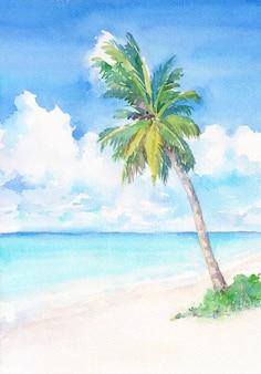 ヤシの木と熱帯の楽園のビーチ。水彩の手描きイラスト。