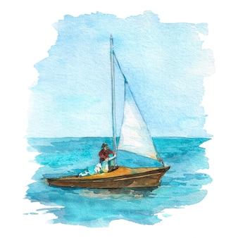 スキッパーと海の白い帆のヨット