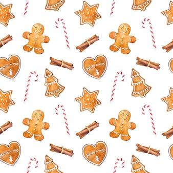 ジンジャーブレッドクッキー、シナモン、キャンディーの杖と水彩のシームレスパターン
