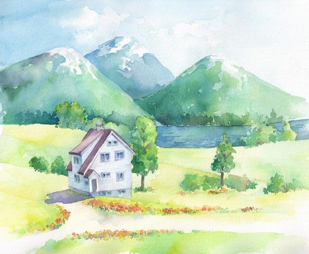 家と湖のある山の風景。水彩の手描きイラスト。