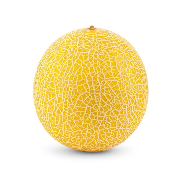 白い背景に分離された黄色のマスクメロンメロン。完全な被写界深度