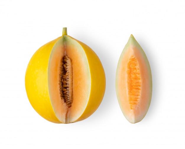 分離された種子と黄色のマスクメロンメロン