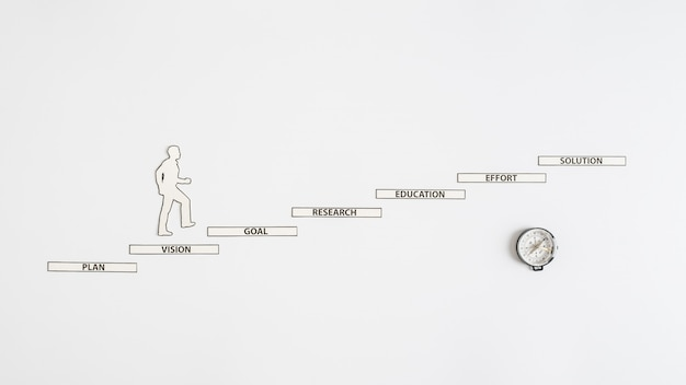 階段を上る男のコンパスと紙の切り抜き